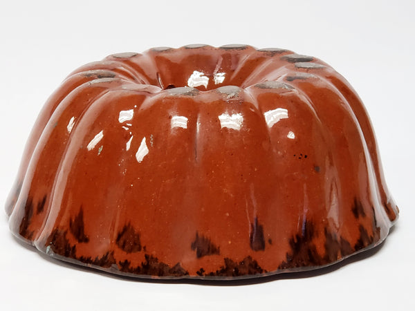 Glazed Turks Head Redware Pottery Bundt Cake Mold #6