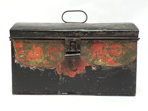 Antique Tin Tole Document Keepsake Box w/ Original Early Paint - 1800's
