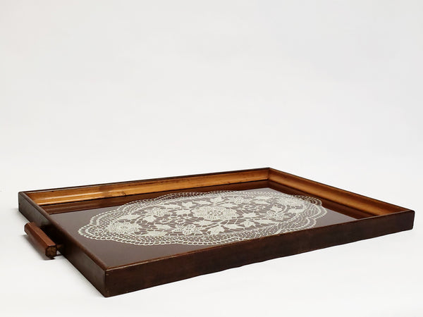 Vintage Reverse Painted Doily on Glass Serving Tray