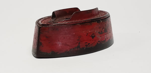 Antique Enterprise Mfg. Cast Iron Sad Iron w/ Worn Red Paint - No Handle c. 1867-1871