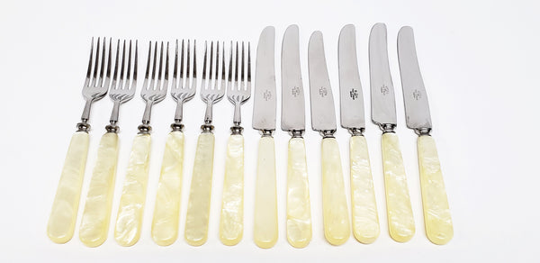 Early Boker Tree Brand Kitchen Flatware with Mother of Pearl Handles