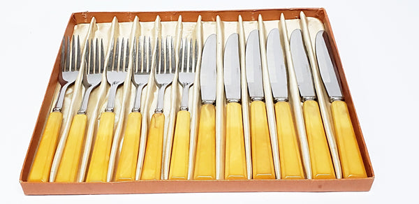 Vintage Yellow Handled Flatware Luncheon Set With Stainless Steel in Original Box