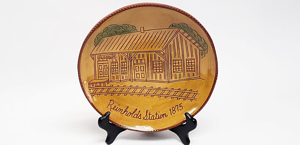 "Foltz Limited Edition Redware Pottery Plate ""Reinholds Station""  ~ 1993"