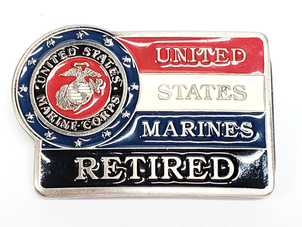 United States Marines Retired Belt Buckle - Red White and Blue with Black
