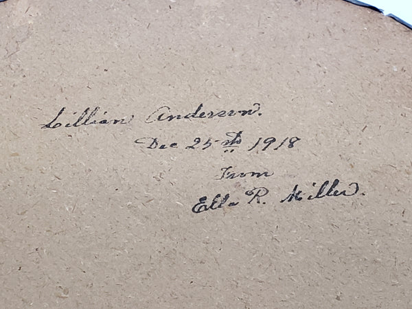 Antique Flue Cover Victorian Girl Dated and Signed 1918