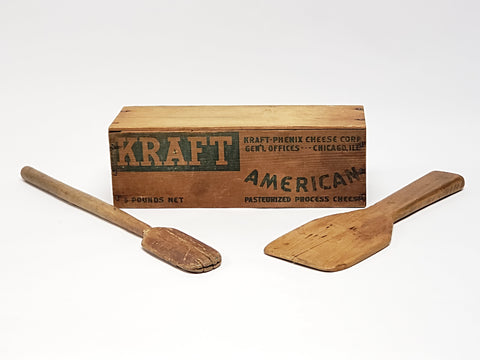 Vintage Wooden Kraft Cheese Box & Two Wooden Utensils