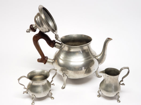 Mid Century Stieff Pewter Williamsburg Tea Set w/ Hallmark by Kirk Stieff ~1950's