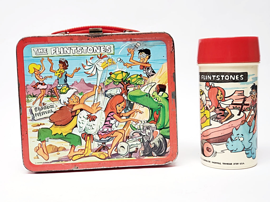 "Vintage 1971 ""The Flintstones"" Metal Lunch Box and Matching Thermos By Aladdin"