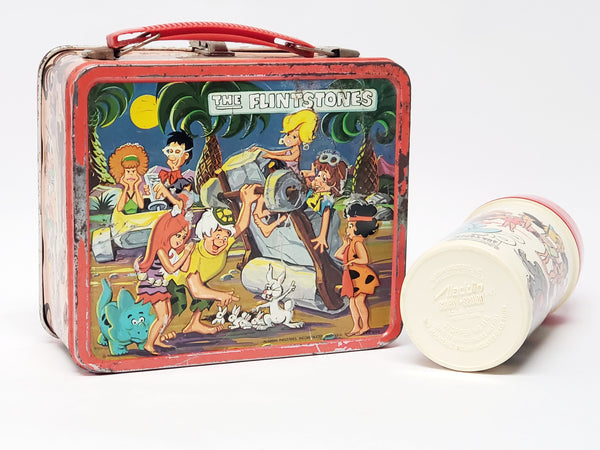 "Vintage 1971 ""The Flintstones"" Metal Lunch Box With Matching Thermos By Aladdin"
