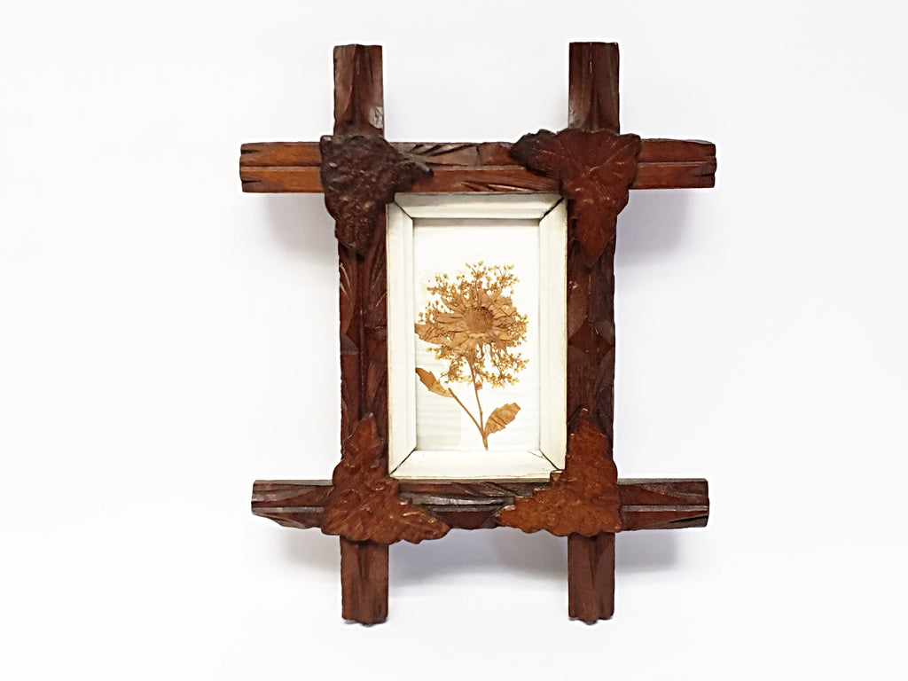 Vintage Petite Adirondack Framed Wall Art With Dried Pressed Flower