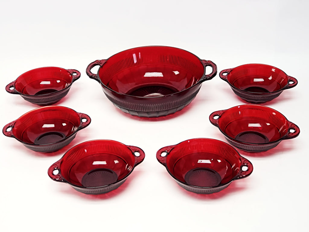 Royal Ruby Red 7 Piece Glass Berry Bowl Serving Set Cornation By Anchor Hocking