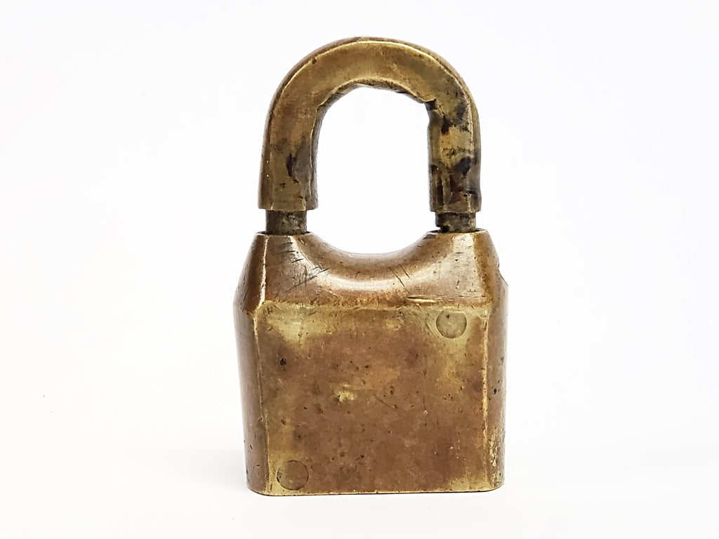Early Brass Padlock With Incised 5 No Key