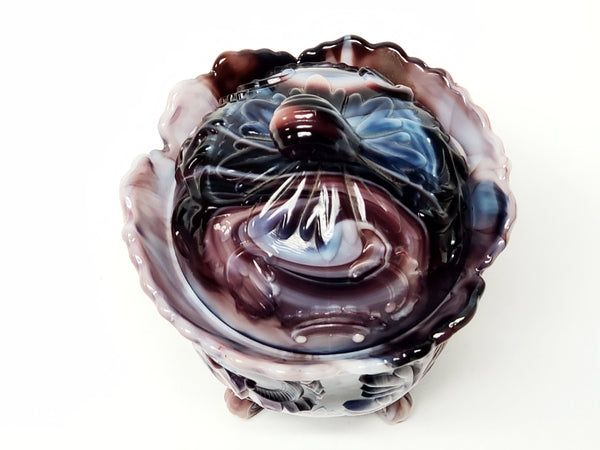 Purple Slag Glass Footed Candy Jar by Imperial Glass Company, Winged Scrolled 176
