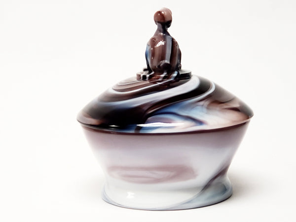 Purple Imperial Slag Glass Covered Dish with Duck Finial