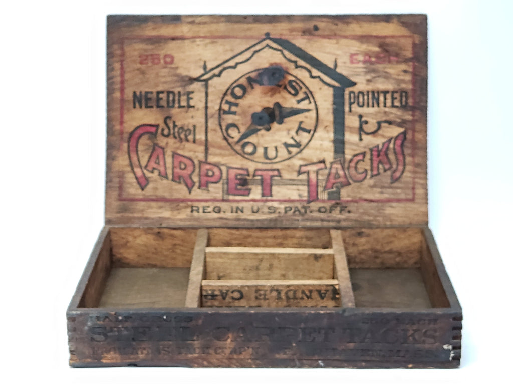 Antique Atlas Honest Count Carpet Tacks General Store Display Box