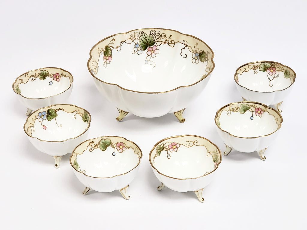 Antique Nippon Hand-Painted Porcelain Nut Bowl Set of 7