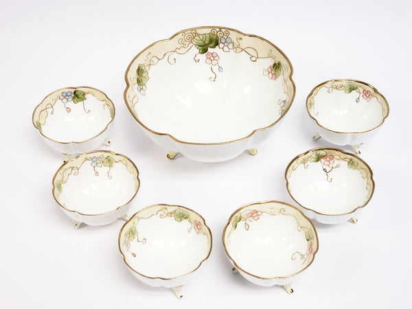 Antique Nippon Hand Painted Porcelain Nut Bowl Set of 7