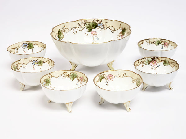 Antique Nippon Hand Painted Porcelain Nut Bowl Set of 7 - VG Condition