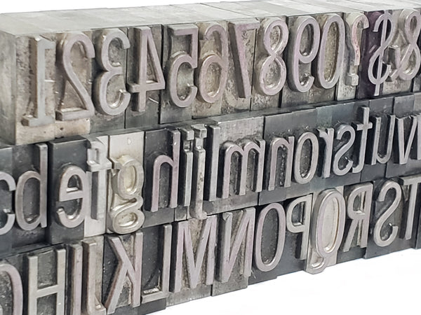 Metal Letterpress Stamps - Collection of 65 Letters, Numbers & Punctuations