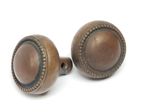 Pair of Round Beaded Door Knobs - Brass-Bronze Finish