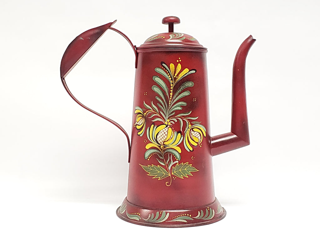 Red Toleware Gooseneck Coffee Pot - Signed and Dated by Nancy Capuano 2012