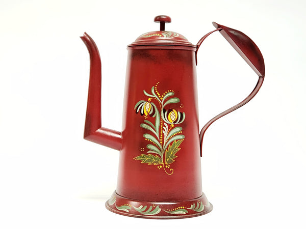 Americana Red Toleware Gooseneck Coffee Pot - Signed and Dated by Nancy Capuano 2012
