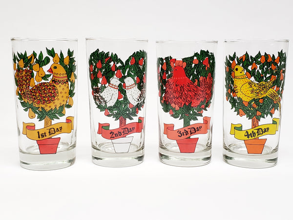 "Vintage ""12 Days of Christmas"" Drinking Glasses in Original Box By Indiana Glass- Set of 12"