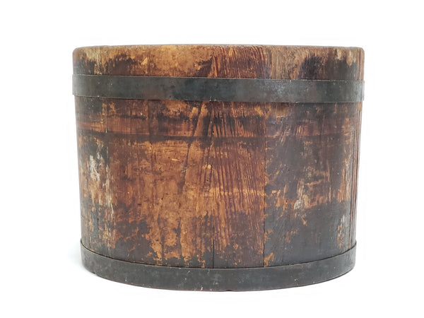 Primitive Americana Wooden Dry Measure Bucket - Stamp on Bottom