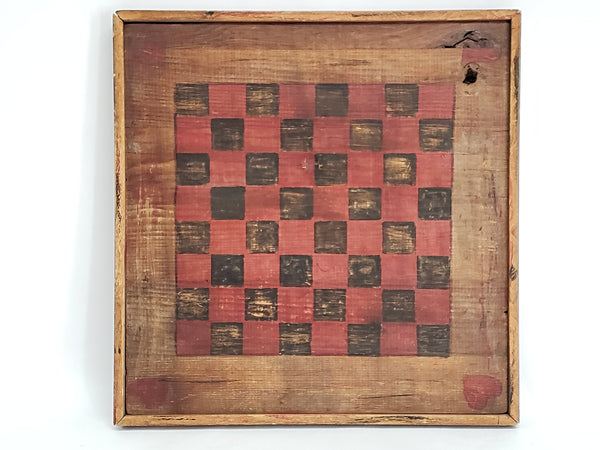Vintage Handcrafted Wooden Folk Art Checkerboard