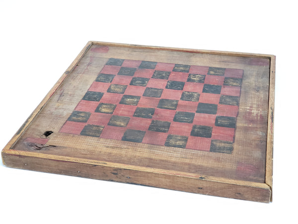 Handcrafted Wooden Folk Art Checkerboard
