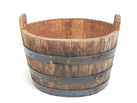 Original Antique Wooden Well Water Bucket - Over 9 pounds