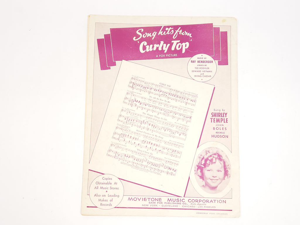 Shirley Temple Sheet Music 1935 Animal Crackers In My Soup For