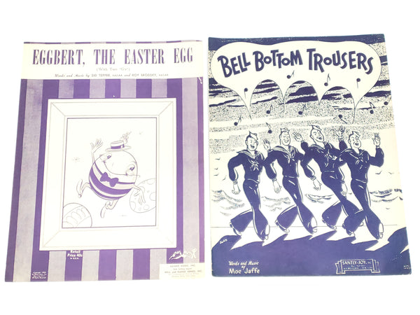 Vintage Sheet Music - Santa On His Way, Rudolph, Bell Bottom Trousers, Alexanders Ragtime, Eggbert