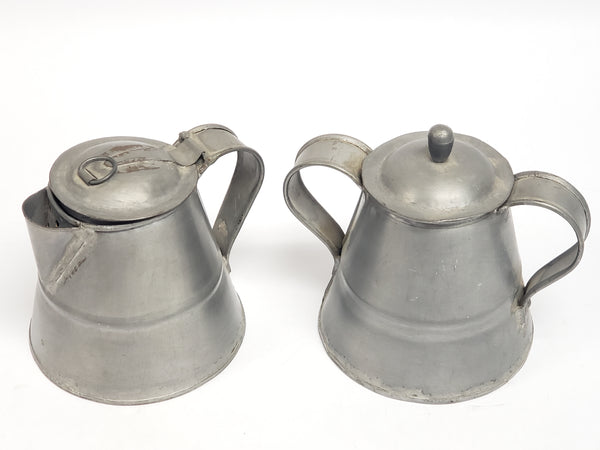 Americana Gooseneck Tin Sheet Metal Coffee Pot Creamer Sugar Trio