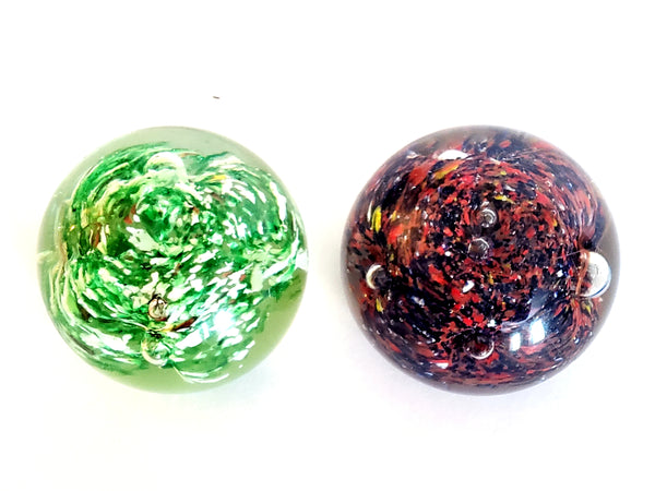 Pair of Round Colorful Art Glass Paperweights
