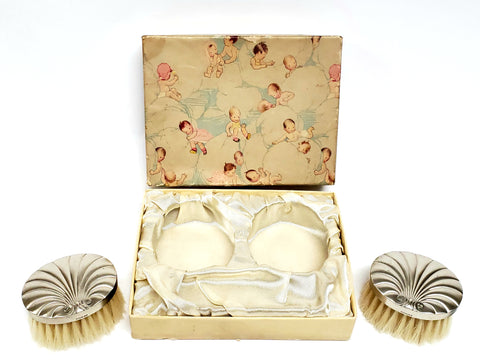 Sterling Silver Art Deco Baby Brush Set With Original Box ~ 1930's - 1940's