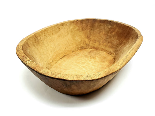 Large Farmhouse Hand Hewn Wooden Dough Trencher Bowl - Over 6 Pounds