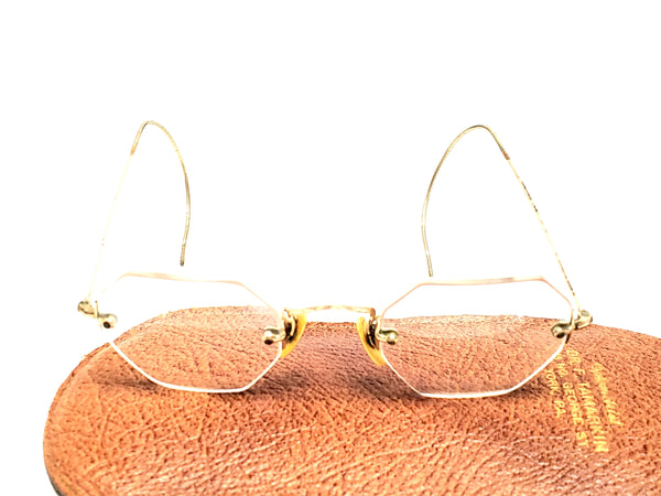 Vintage Octagonal Eyeglasses 1/10 12K Gold Filled Rimless W/ Case - AO
