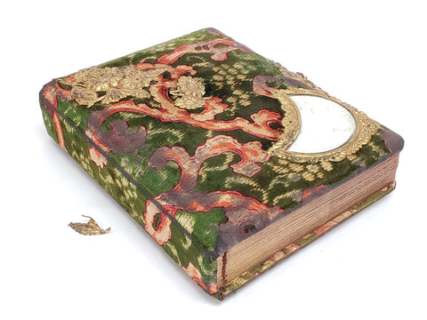 Antique 1895 Victorian Velvet Paisley Photo Album With Photos Patented 1895