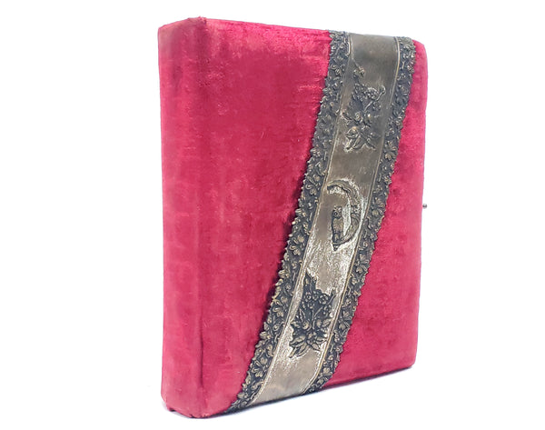 Antique Victorian Red Velvet Footed Photo Album W/ Photo Cards