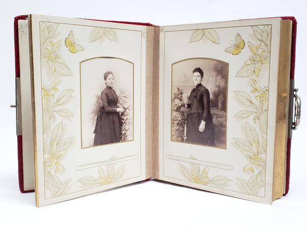 Antique Victorian Red Velvet Photo Album With Photo Cards