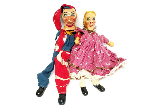 Vintage Punch and Judy Wooden Carved Hand Puppets