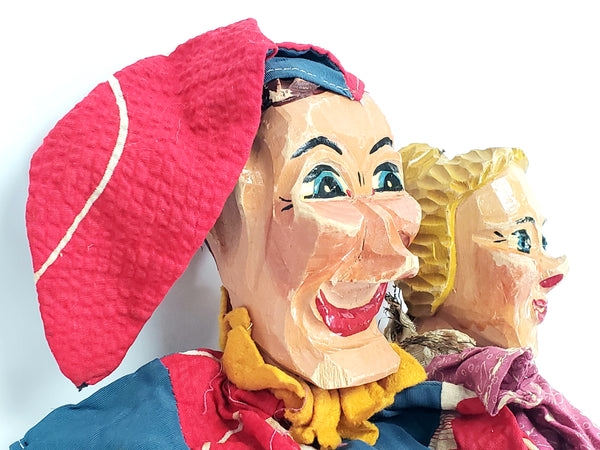 Vintage Punch & Judy Wooden Carved Hand Puppets Made in Germany