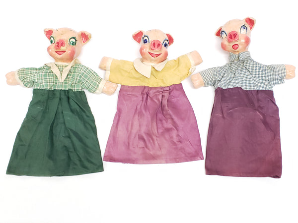 "Rare Papier Mache ""Three Little Pigs"" Hand Puppets - WPA Museum Extension Project"