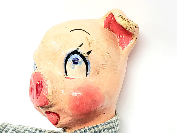 "Rare 1930's Paper Mache ""Three Little Pigs"" Hand Puppets - WPA Museum Extension Project"