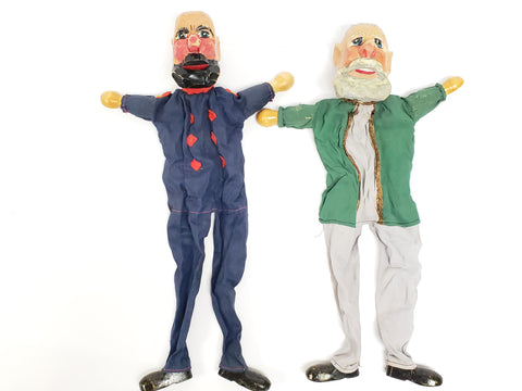 "Vintage ""Two Bearded German Men""  Carved Wooden Hand Puppets"