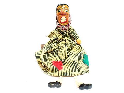 "Vintage Carved Wood ""Angry Peasant Woman"" Hand Puppet - Germany"