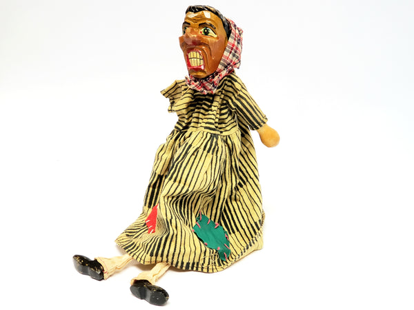 "Vintage Carved Wooden ""Angry Peasant Woman"" Hand Puppet - Germany"