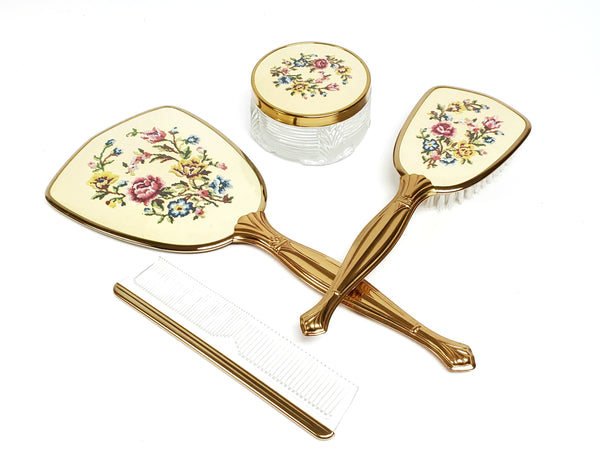 Vintage 4 Pc Petit Point Embroidered Floral Dresser Gift Set Original Box U.S.A.