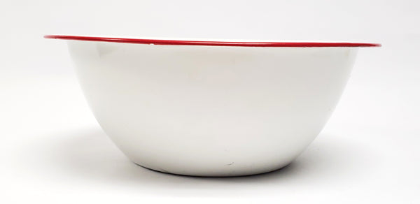 Vintage White with Red Rim Enamelware Mixing Bowl